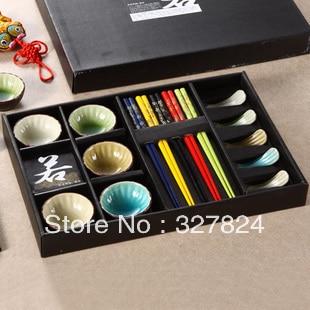 Free shipping hot Calvings glaze tableware crack glaze sushi gift box chopsticks plate15 piece set tableware set wedding gift