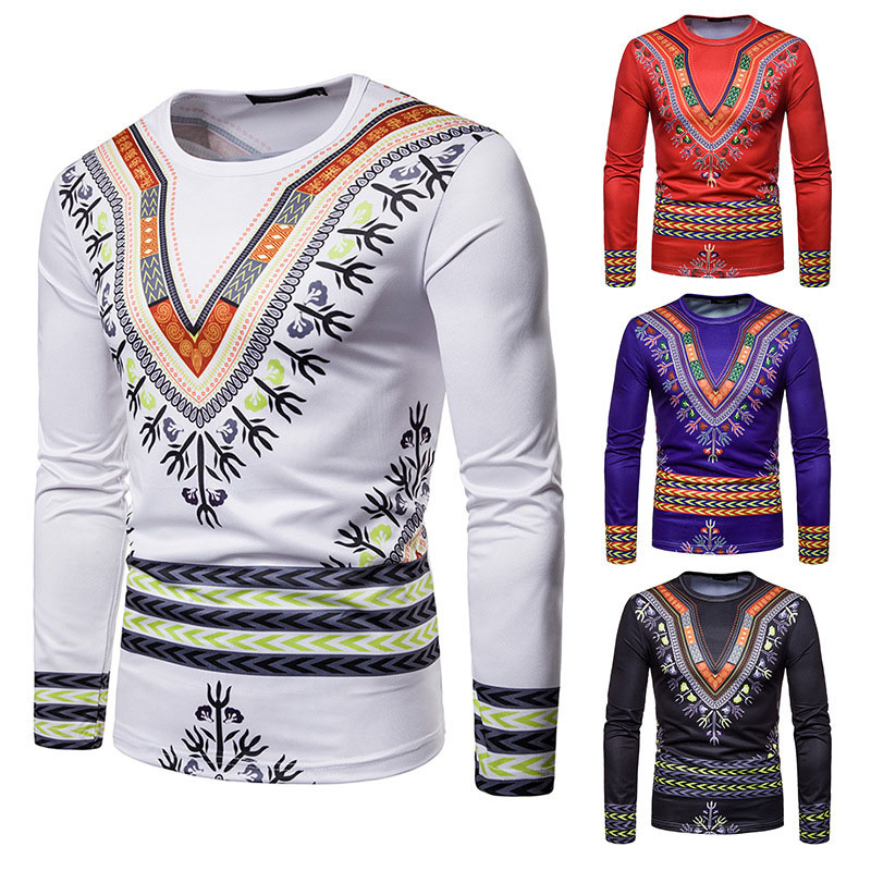 4 Colors Men's Autumn African Dashiki Print O Neck Long Sleeves Slim Shirt Hip Hop Tribal Top Shirt Hippy Clothing For Male 2XL