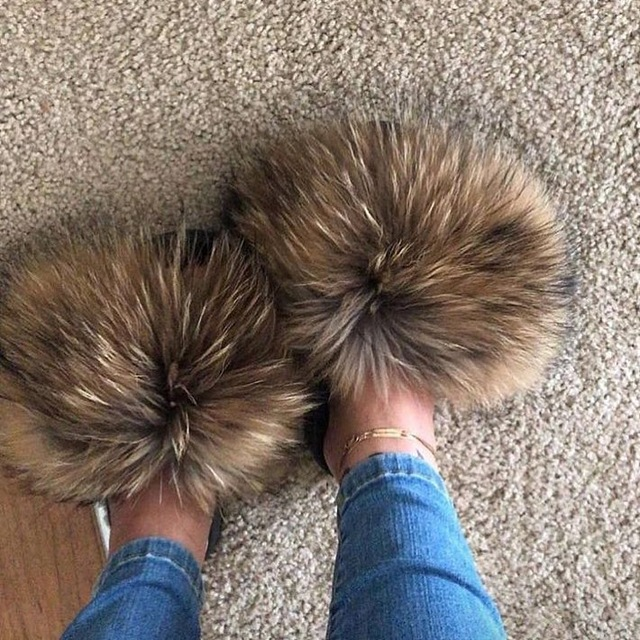 Fur Slippers Furry-Sliders Hand-Mada Real-Fox-Fur Amazing-Quality Women Ladies title=