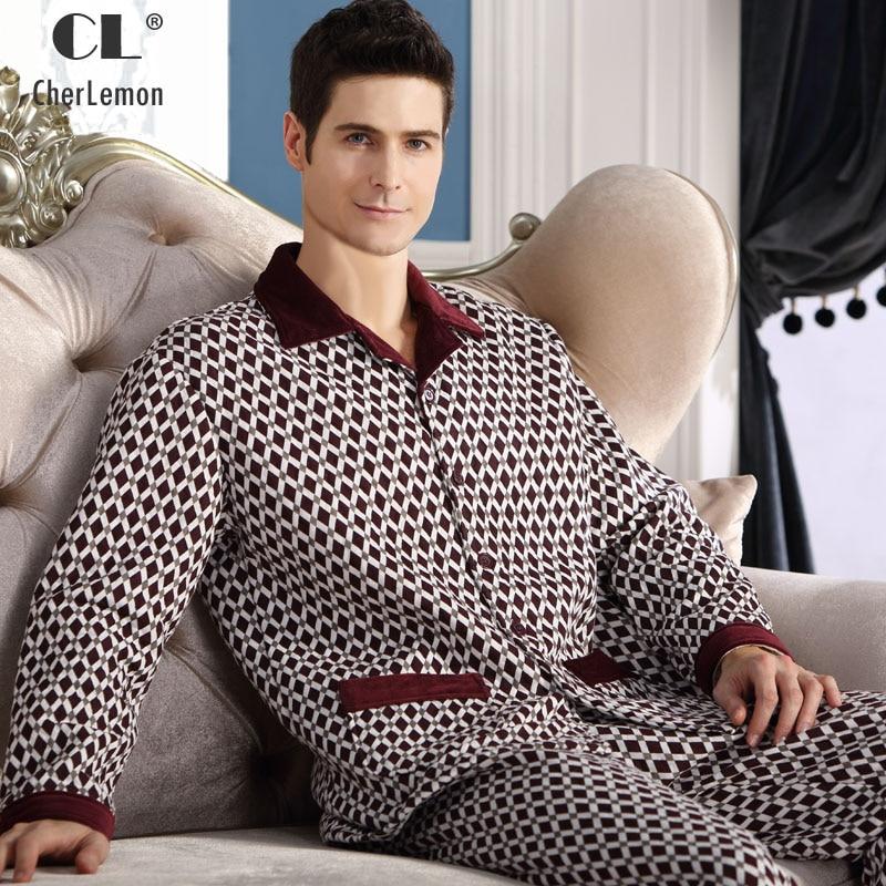 CherLemon Winter Mens Thicken Quilted Pajama Sets Long Sleeve Button Up Sleepwear Male Casual Rhombus Pijamas Warm Lounge Wear