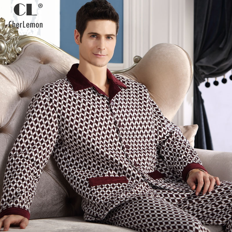 CherLemon Winter Mens Thicken Quilted Pajama Sets Long Sleeve Button Up Sleepwear Male Casual Rhombus Pijamas Warm Lounge Wear