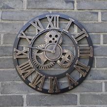 Retro rustic art big gear luxury 3D clock