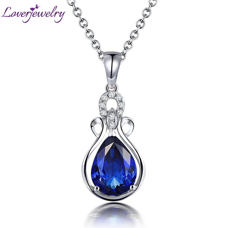 Hot Sale Vintage Solid 14Kt White Gold Natural Diamond Genuine Tanzanite Pendant Necklace Pear 7x9mm Gemstone Fine Jewelry WP10B