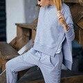 Fatos de Treino Sportswear 2016 Mulheres Da Moda Outono Inverno Sólidos da Longo-luva O pescoço Casual Terno Costumes Mujer 2 Peça Set
