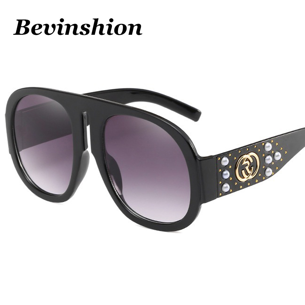 3e1c11ab24eb Luxury Brand Designer Big Frame One Piece Women Sunglasses Mosaic Pearl  Rivets Sun Glasses Oversized Goggles Clear Lens Pink Red