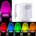 Motion Activated Toilet Night light RGB 8 Colours Automatic Body Motion Sensor PIR Toilet Light Bathroom LED Emergency Light