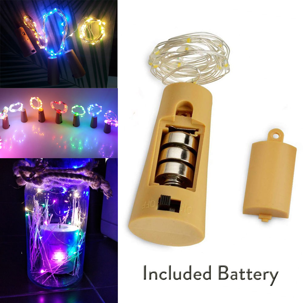 <font><b>Led</b></font> Silver Wire String <font><b>Light</b></font> 2m 20LEDs Wine Bottle Cork Stopper Garland Festival Wedding Party Home Decor Lamp Included Baterry image