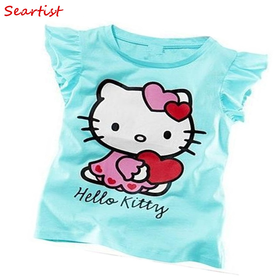 Seartist Baby Girls Summer Hello Kitty Tshirt Girl Cute Cotton T-shirt Baby Girls Summer Clothes Girls Clothes Tops Tee 10