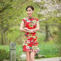 Tang Show 2017 New Women Vintage Chinese Tradition Ladies Sexy Red Cheongsams Mini Club Qipao Dress