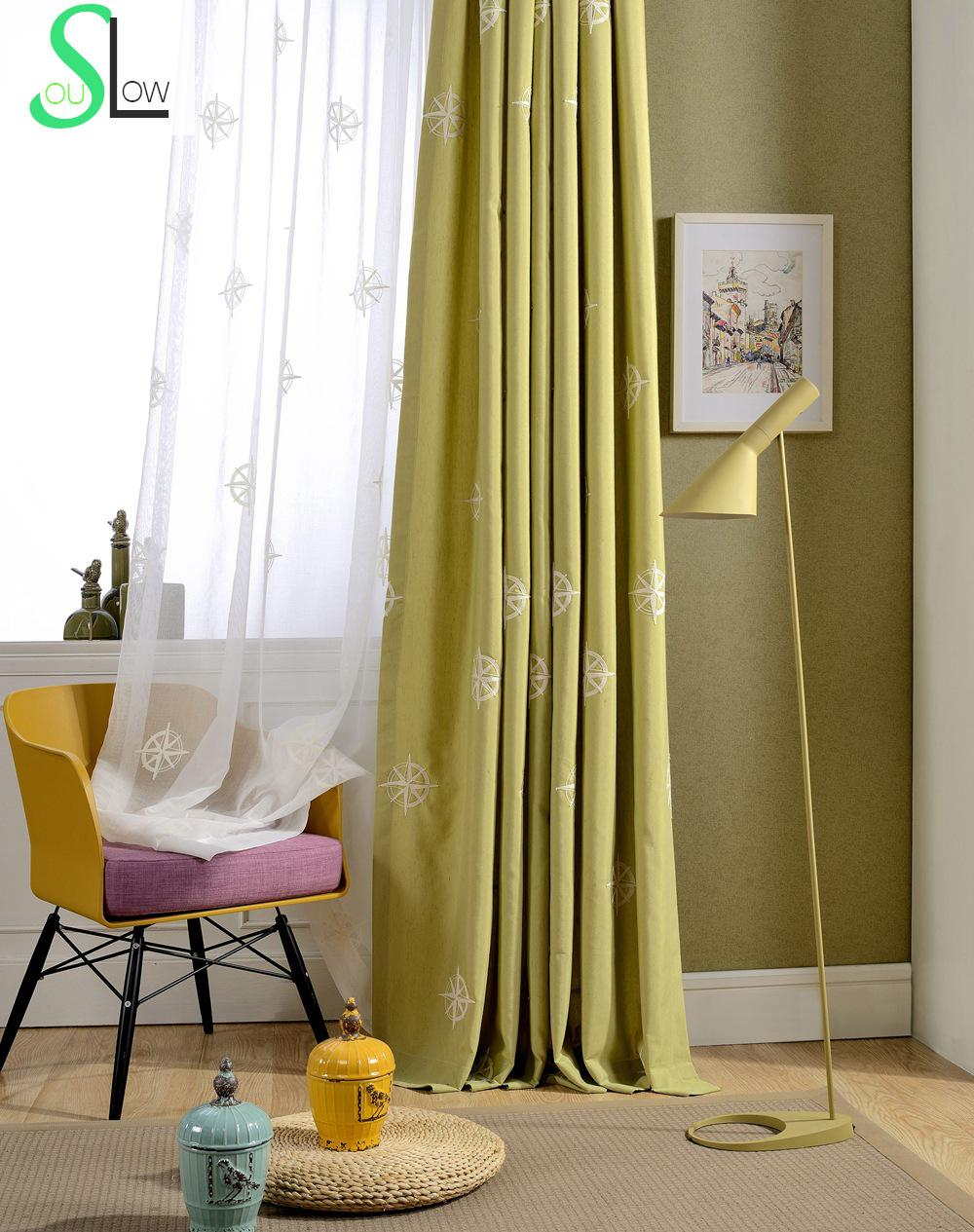 Green geometric curtains - Flash Green Cotton Curtain Stereo French Geometric Embroidered Curtains For Living Room Cortina Kitchen Modern Bedroom Sheer