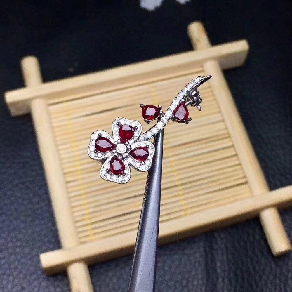 Bloem Real En Natuurlijke Ruby broche Gratis verzending Natuurlijke echte Robijn 925 sterling zilveren broche Bloem - 4