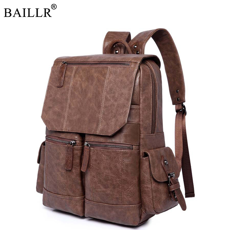 2018 New arrival Vintage PU Leather Backpack School Laptop Backpack Travel Backpack Male Fashion Backpack Schoolbag Wholesale male classic microfiber leather backpack
