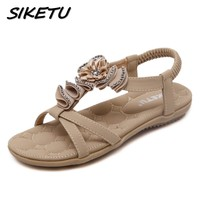 New Summer Bohemia Sandals Shoes Woman Fashion Rhinestone Flower Beach Soft Flat Sandals Elastic Band Size