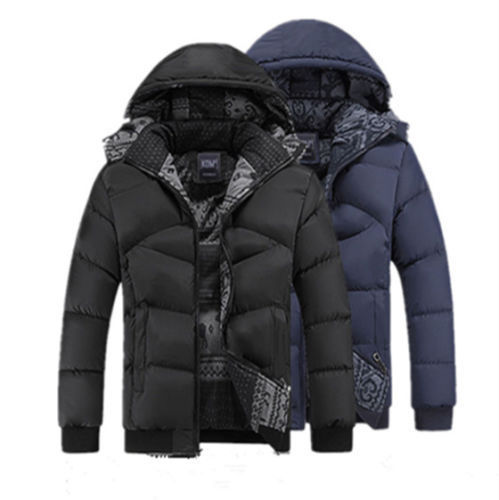 Big Size Winter Men s Hat Detachable Cotton Padded Jacket Thick Casual Wadded Windproof Warm Coat