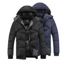 Большой Размер Зимний мужской Шляпа Съемный Хлопка-Ватник Толщиной Случайный Ватные Ветрозащитный Теплое Пальто Куртка