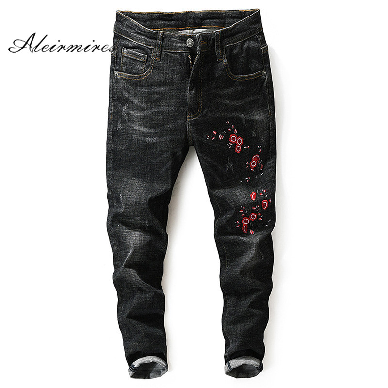 Aleirmires Embroidered Pants Men 2018 New Arrival Fashion Embroidery Skinny Jeans Classic Distressed Slim Black Jean Trousers
