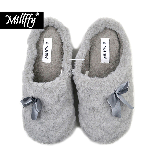 5d1ff9567c96 Millffy winter shoes women Mens chaussure homme Indoor Slippers Winter Warm  Fuzzy Plush Fur Anti-Slip House Bedroom Slippers