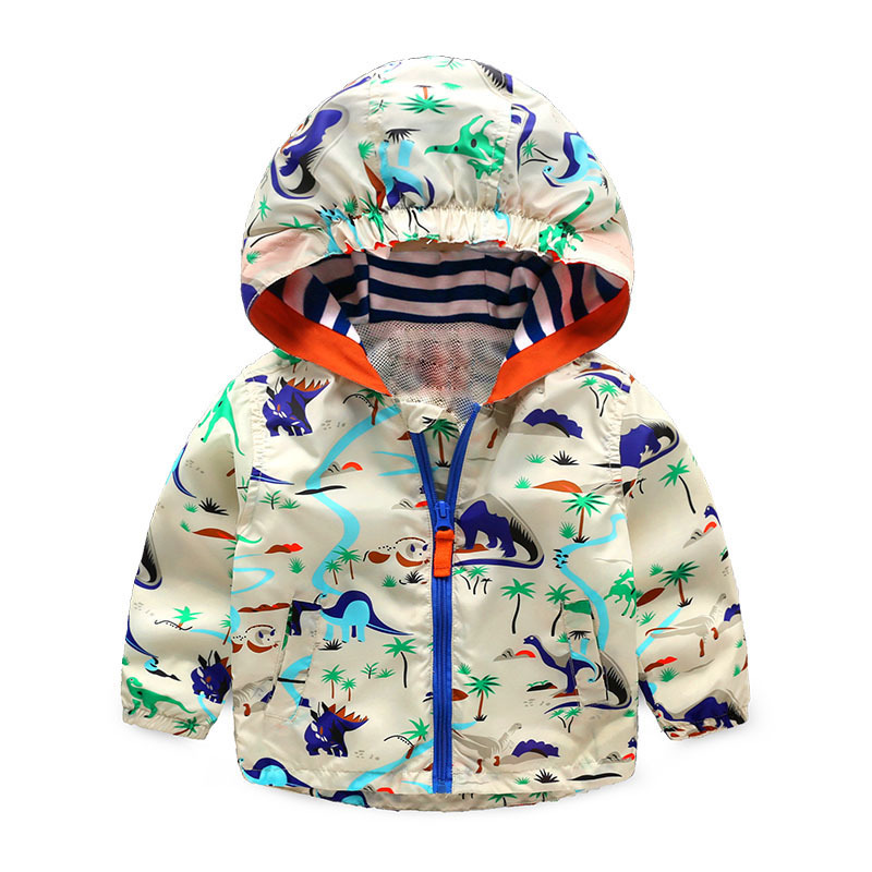 2T~5T Baby Boys Girls Dinosaur Printed Jackets Cartoon Graffiti Outerwear Children's Hooded Clothes New Kids Coats MKBCOCJC007 iyeal kids winter jackets 2017 new solid hooded baby girls boys cotton thincken coats infant outerwear warm clothes 1 4 years