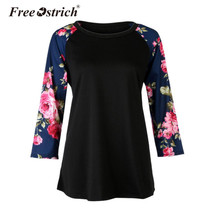 Free Ostrich Autumn Women Blouse Casual Vintage Long Sleeve Floral Print O-Neck Loose Pullovers Women Tops Shirt Female Blusas