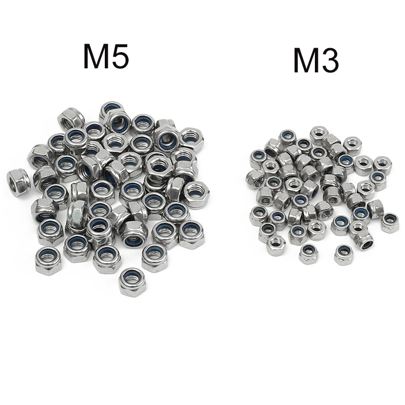 Brand NEW 50PCS M3 M5 304 Stainless Steel DIN985 Galvanized Self-locking Nut Nylon Lock Durable Quality marteen seoul