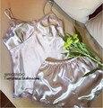 2016 Nueva Ropa de Las Mujeres Pone en cortocircuito V-cuello de Satén Ropa de noche Pijama Conjunto Pijama Pijamas de Las Mujeres Correa de Espagueti Del Cordón Sexy T401