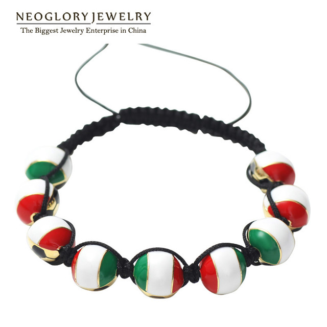 Neoglory Gold Plated Zinc Alloy Stoving Varnish Italy Flag Trendy Bangles & Bracelets For Women Men Sporty Jewelry CLE
