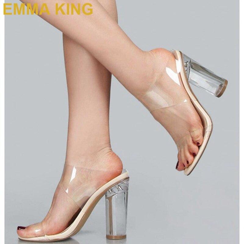 Модные женские туфли без задника на прозрачном каблуке с открытым носком; удобные босоножки на не сужающемся книзу массивном каблуке; пикантные женские летние босоножки на высоком каблуке