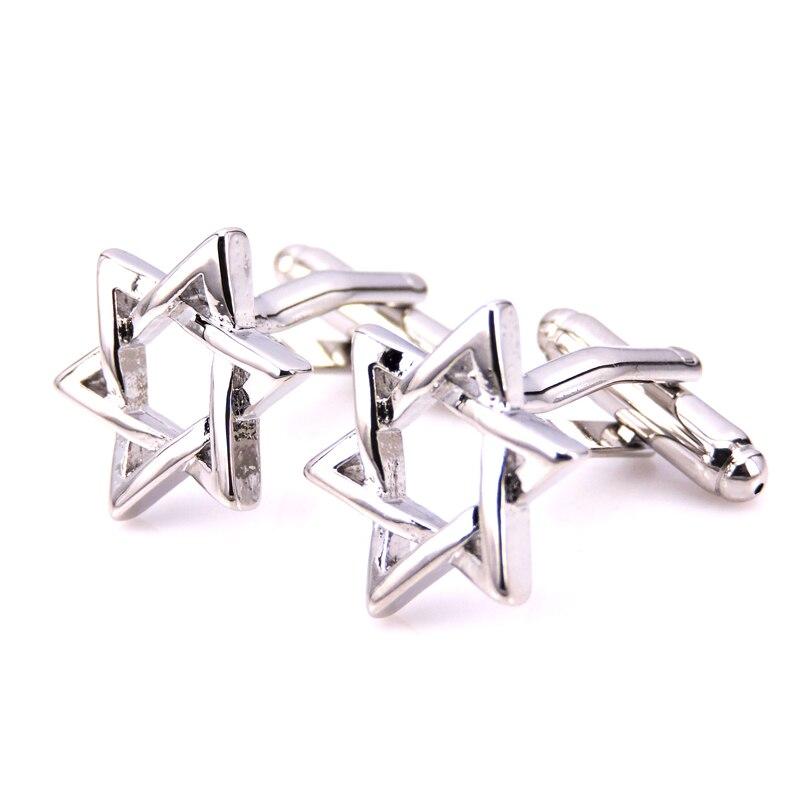 C-MAN Luxury Mogen David Shirt Cufflink For Mens Brand Star Cuff Buttons Cuff Links High Quality Silver Abotoaduras Jewelry
