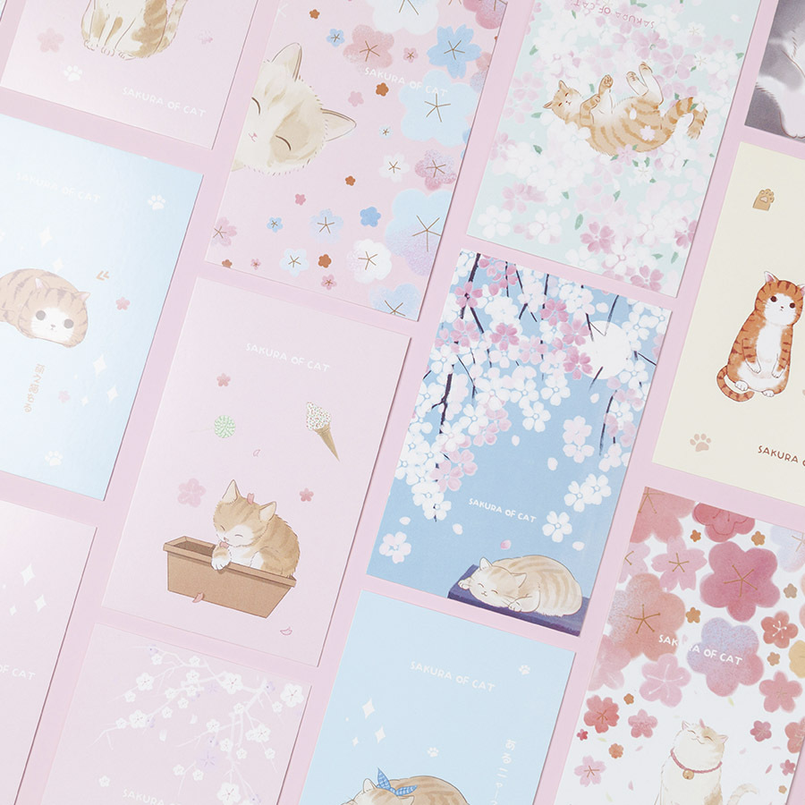 30 Sheets/Set Beautiful Sakura And Cat Postcard Greeting Card Birthday Letter Gift Card Message Card