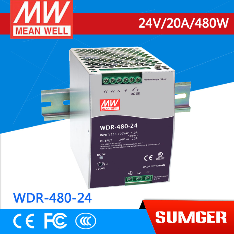 [CA]MEAN WELL original WDR-480-24 1Pcs 24V 20A meanwell WDR-480 24V 480W Single Output Industrial DIN RAIL Power Supply bering 11422 765