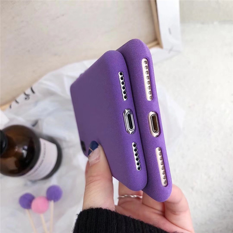 Luxury purple matte Soft Tpu Phone Case for iphone 6 6s 7 8 Plus Xs XR Max Simple Color Silicone Cover For iphone X 8plus Capa in Fitted Cases from Cellphones Telecommunications