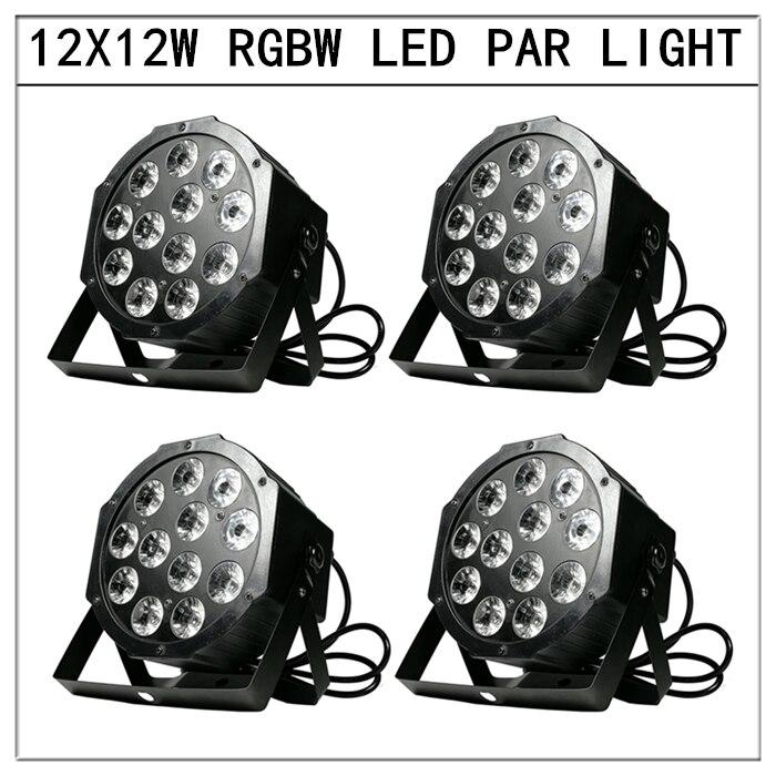 4pcs/12x12W led Par lights RGBW 4in1 flat par led dmx512 disco lights