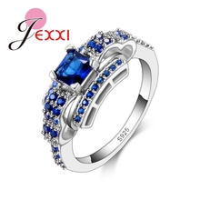 JEXXI Classic Blue CZ Crystal 925 Sterling Silver Rings For Women Wedding Engagement Jewelry Accessory Anillos Bague Femme