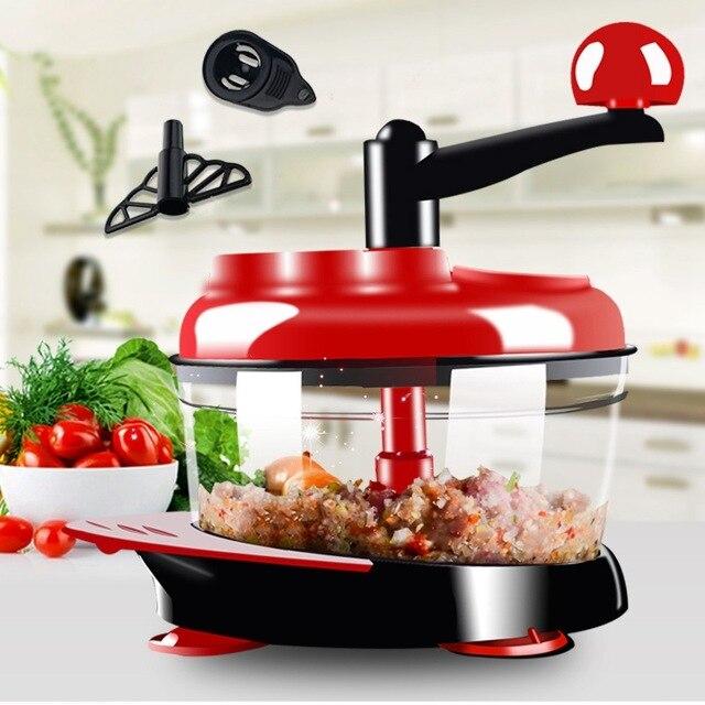 500ml-1.5L Hoge capaciteit multifunctionele Keuken Handleiding Food Processor Vleesmolen Plantaardige Chopper Shredder Cutter Ei Blender