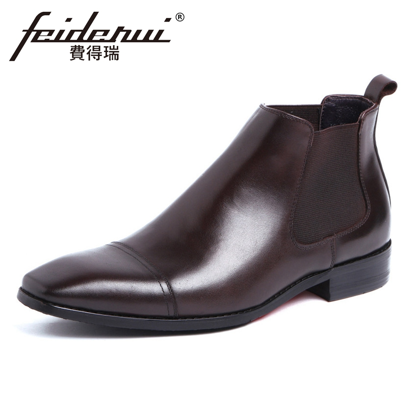 Luxury Designer Genuine Leather Men's Chelsea Ankle Boots Round Toe Handmade Cowboy Man Outdoor Martin Riding Shoes YMX486 new summer designer man handmade breathable chelsea shoes male genuine leather men s round toe cowboy riding ankle boots ss347