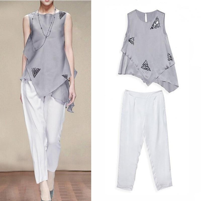 High Quality Luxury Beaded Clothing Set Women Summer Sleeveless Irregular Blouses Tops And Harem Elegant Pants Suit Set NS136