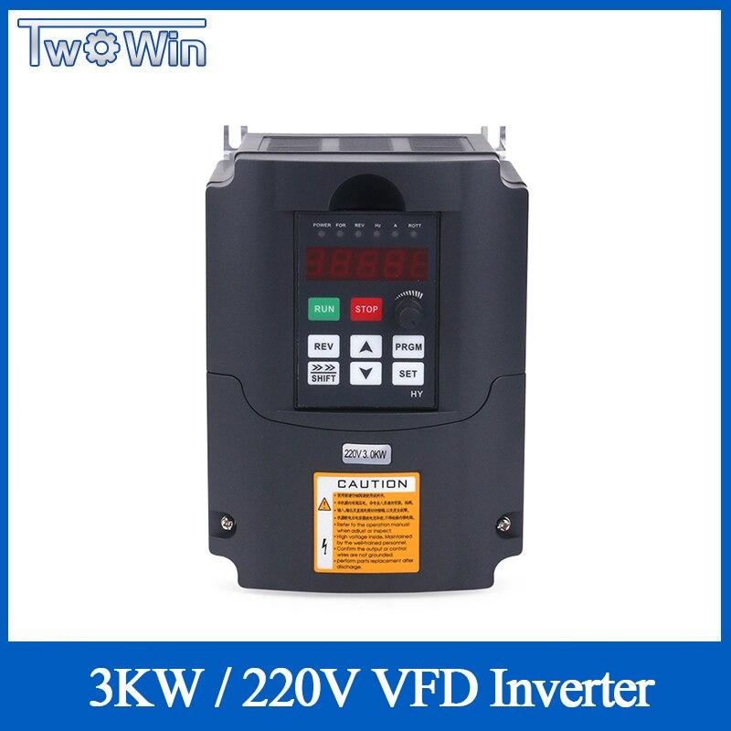 CNC Eixo Do Motor VFD Unidade de Freqüência Variável de Controle de Velocidade 220v 3kw HY 1HP/3HP 3HP Entrada de Freqüência de Saída conversor inversor