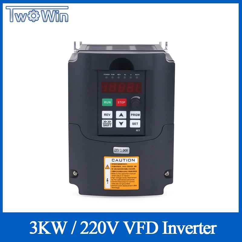 Commande de vitesse de moteur de broche de CNC 220v 3kw HY VFD variateur de fréquence 1HP/3HP entrée convertisseur de fréquence de sortie 3HP