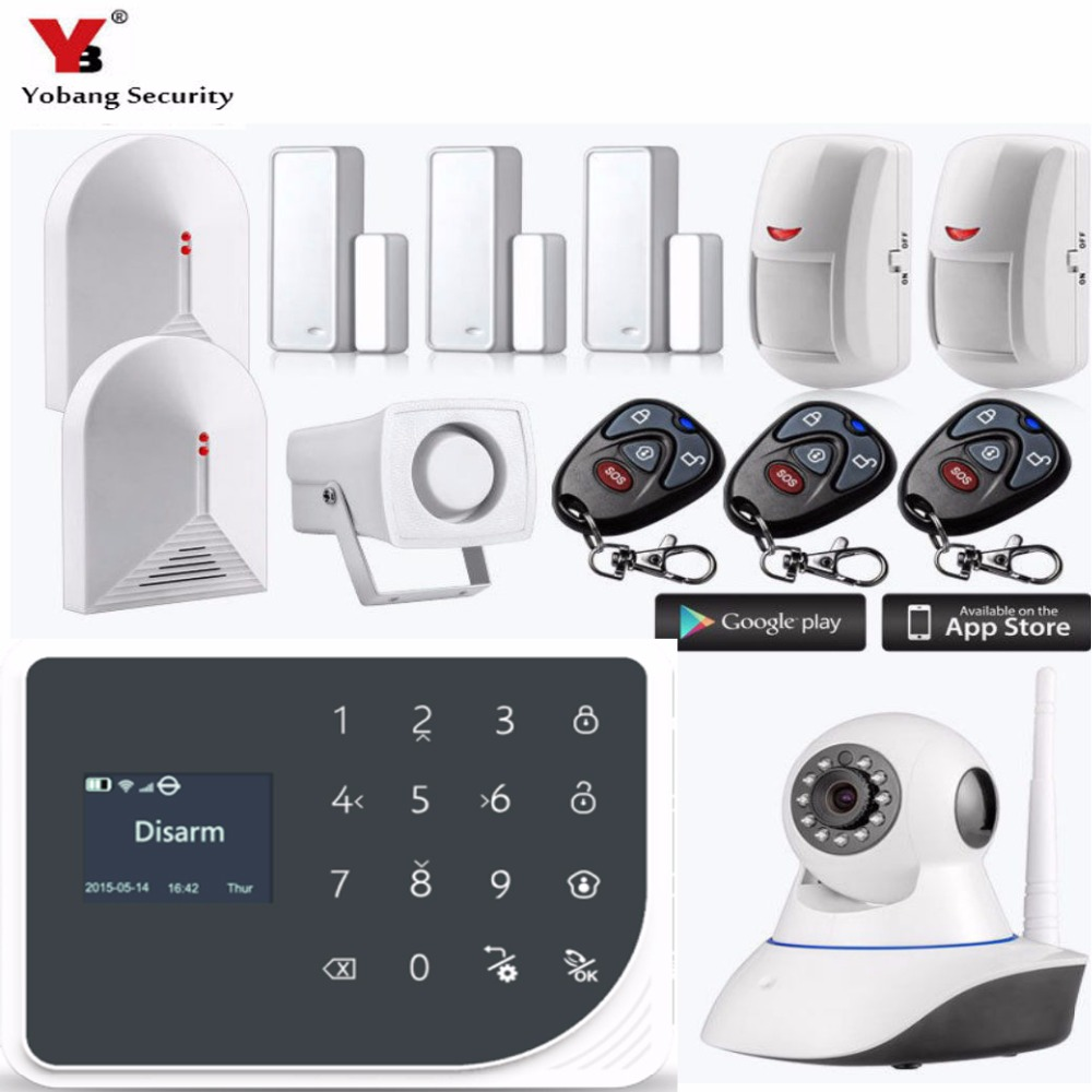Yobang Security Wireless WiFi GSM Alarm System Android ios APP Control home Security Alarm System with IP camera yobang security wifi gsm sms wireless home security alarm system ios android app remote control