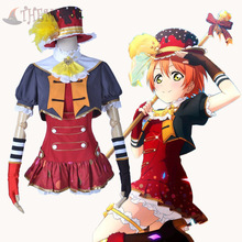 Athemis New Arrival Love Live Hoshizora Rin Cosplay Costumes Spaghetti Strap Dress Sexy Mini Dress with White Leggings Shorts