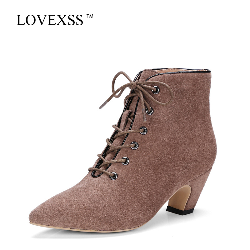 LOVEXSS Woman Pointed Toe Boots Autumn Winter High Heeled Shoes Plus Size 33 - 43 Fashion Genuine Leather Ankle Boots Black 2017 2016 autumn and winter fashion high top shoes male pointed toe leather casual shoes men s ankle boots