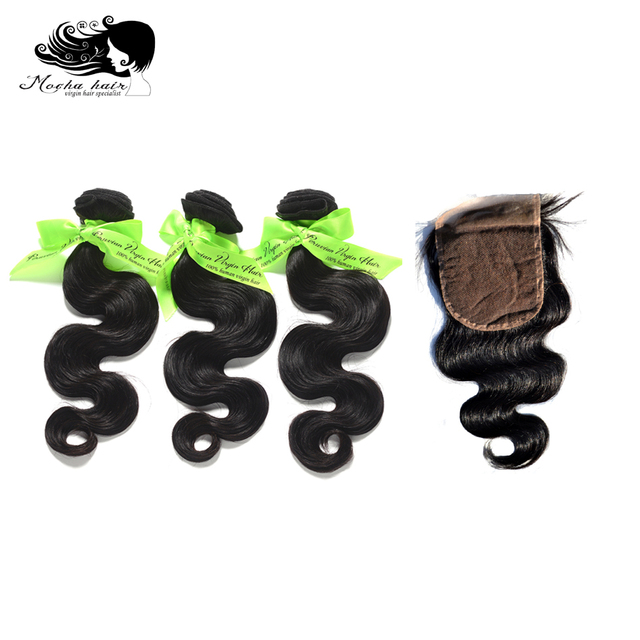 MOCHA Hair  10A Peruvian Virgin Hair Body Wave  3 Bundles With One 4* 4 Lace Closure 100% Human Hair Free shipping