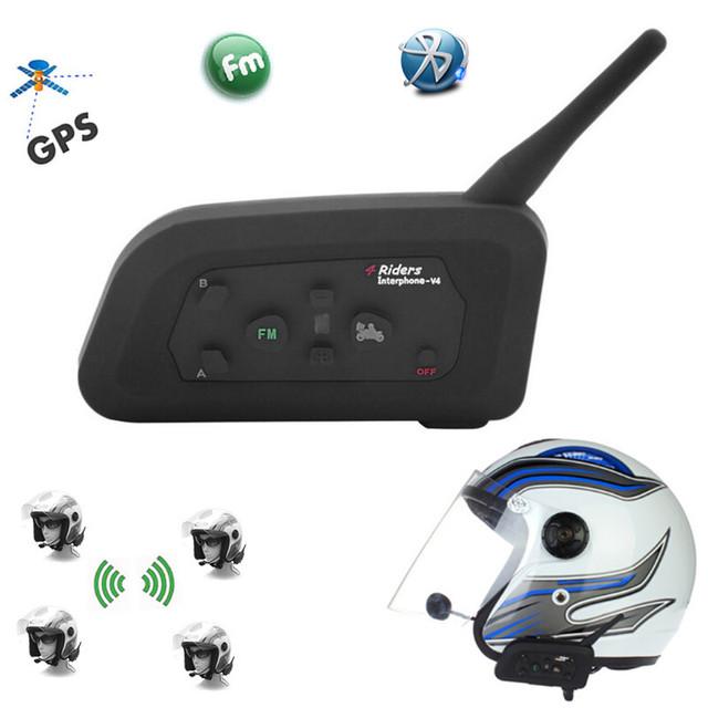 1200 M V4 BT Múltiples Interfono Bluetooth FM de La Motocicleta de Auriculares Casco Intercomunicador Impermeable Auricular Comunicador 4 Pilotos
