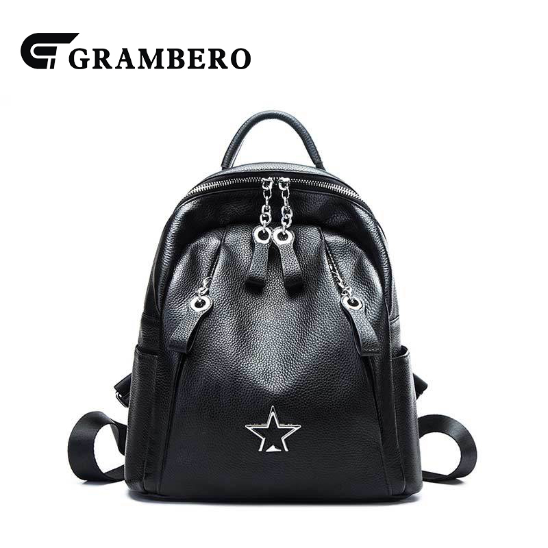 New Style Women Backpack Star Decor Black Color Genuine Leather Top Leather Zipper Fashion School Bag Shopping Casual Backpacks