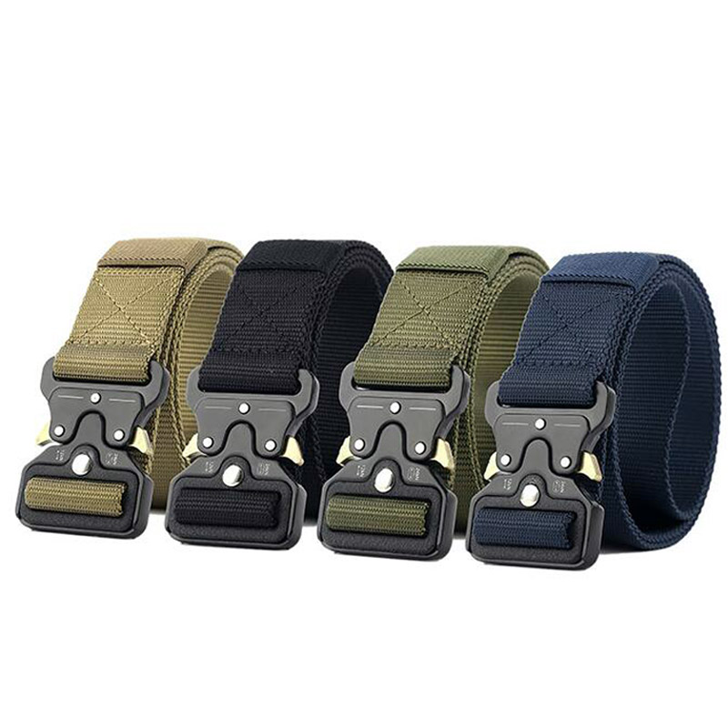 New style Military Equipment Army Tactical Belt Men Thicken Metal Buckle Sturdy Nylon Belt Combat Belts Multiple colors