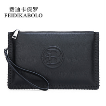 купить FEIDIKABOLO Cow Leather Men Wallets Black Genuine Leather Men Wallet Card Holders Fashion Male Clutch Purse Zipper Money Bag Man по цене 1039.49 рублей