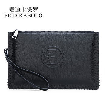 FEIDIKABOLO Cow Leather Men Wallets Black Genuine Leather Men Wallet Card Holders Fashion Male Clutch Purse Zipper Money Bag Man 2017 hot fashion men wallet genuine leather multi bit money clip short card luxury brand clutch purse bag man vintage clutches