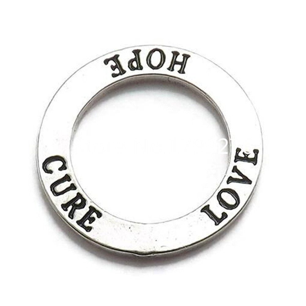 DOUBLE NOSE New Fashion Antique Silver Tone Affirmation Circle Love Hope Cure Ring Charm