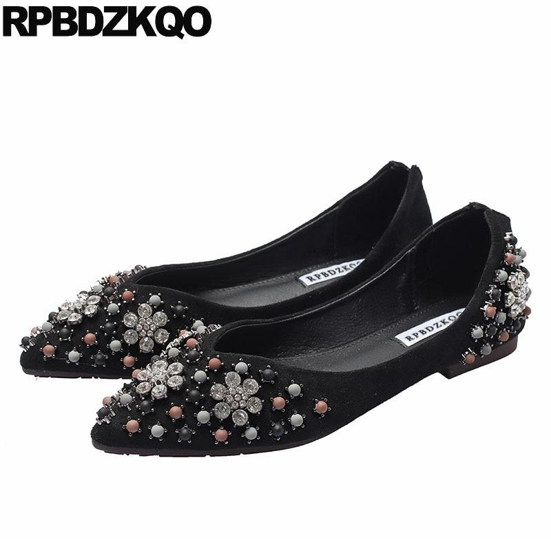 Daim robe strass Chic dames Designer chaussures femmes de luxe 2019 chine diamant bout pointu mariage noir appartements cristal perle