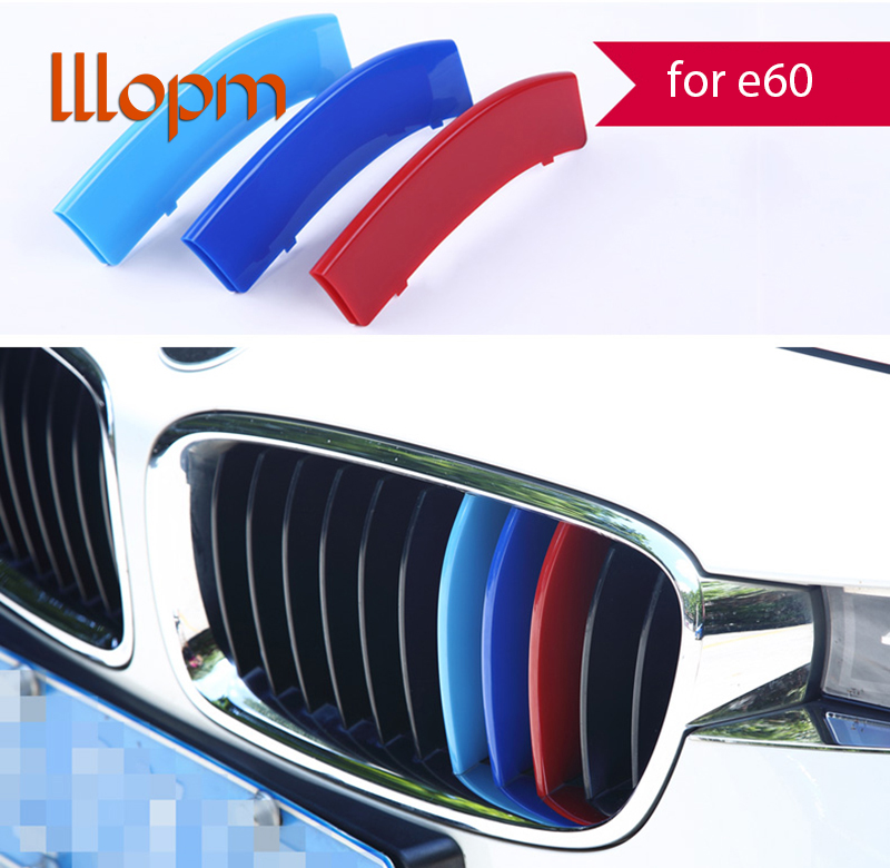 3D M Styling Car Front Grille Trim Sport Strips Cover Motorsport Power Performance Stickers for 2004-2010 BMW 5 Series E60 m motorsport m power car front hood grille emblem led light for bmw universal